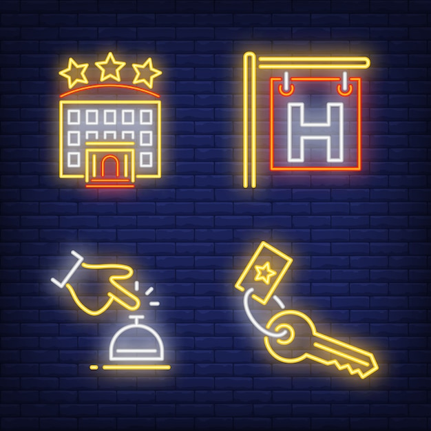 Hotel neon sign set. signboard, bell Free Vector