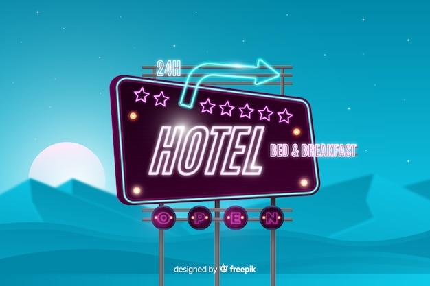Hotel neon sign Free Vector