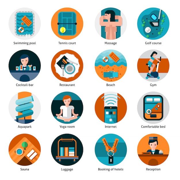 Hotel offers icons set Premium Vector