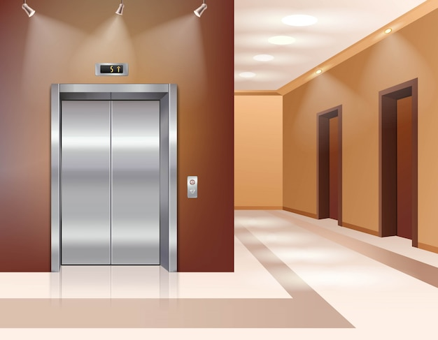 Hotel or office building hall with closed elevator door Free Vector