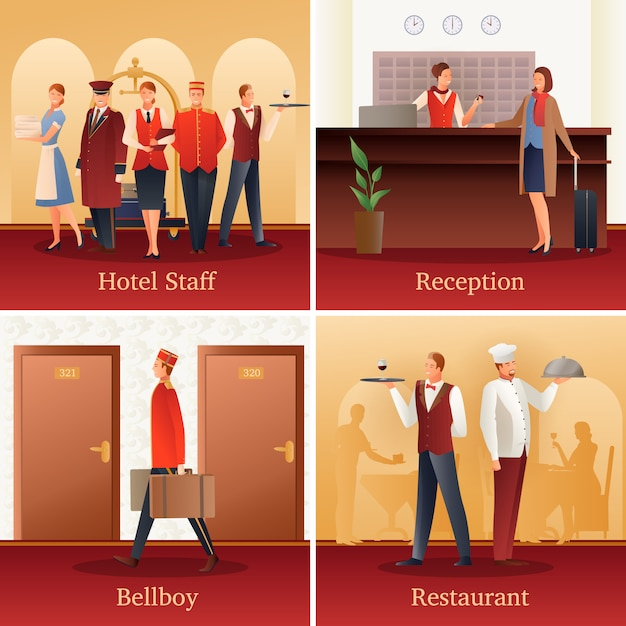 Hotel people flat compositions Free Vector