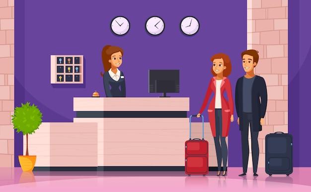 Hotel Reception Cartoon Background Free Vector