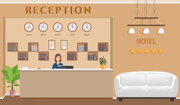 受付とソファのあるホテルの受付カウンター。 Premiumベクター