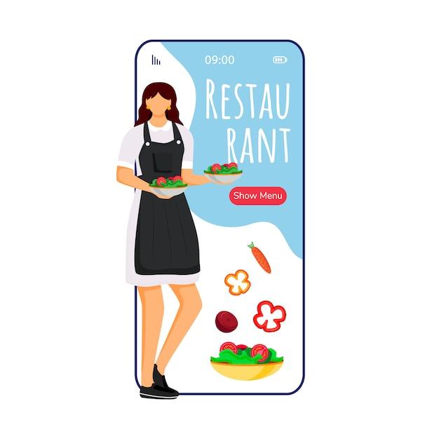 ホテルレストラン漫画のスマートフォンアプリ画面。シェフフラットキャラクターデザインの携帯電話ディスプレイ。料理の注文、メニュー。ケータリングサービスアプリケーションの電話インターフェース Premiumベクター