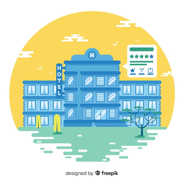 Hotel review concept background Free Vector
