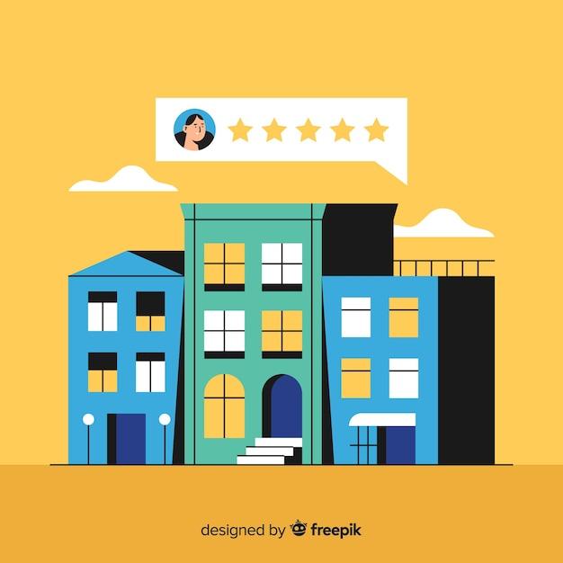 Hotel review concept illustration in flat design Premium Vector