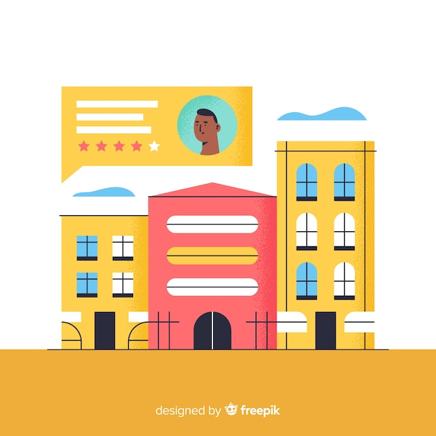 Hotel review concept illustration in flat design Premium Vector