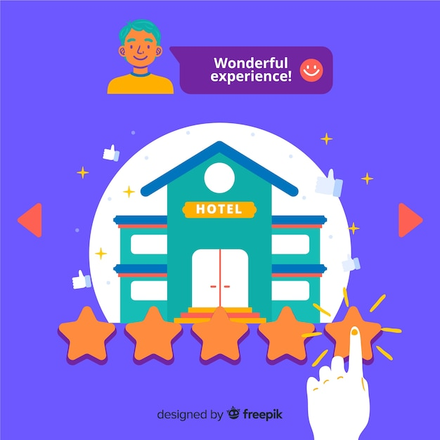 Hotel review concept illustration in flat design Free Vector