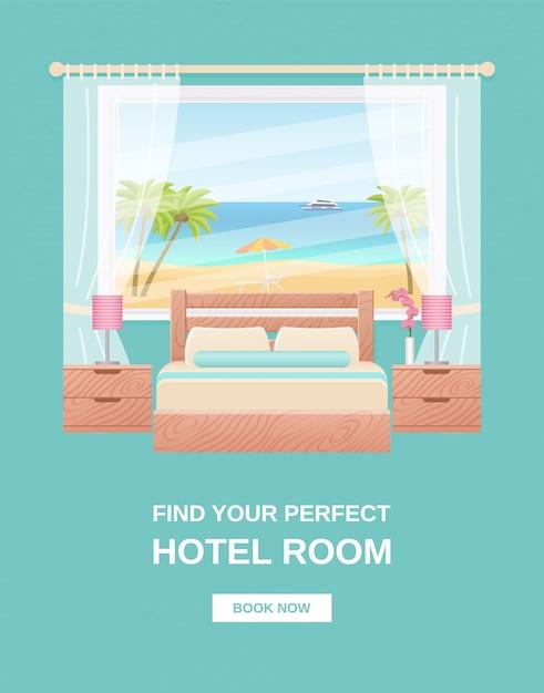 Hotel room banner, template flyer, poster bedroom interior, Premium Vector