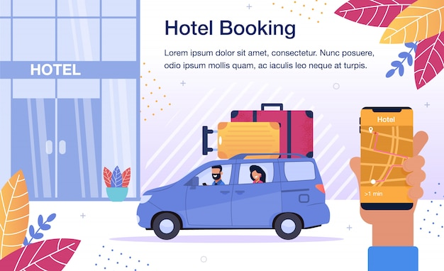 Hotel room booking online service poster Premium Vector