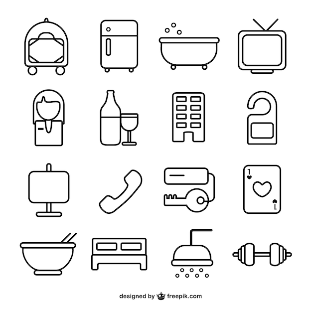Hotel Room Line Icons Free Vector