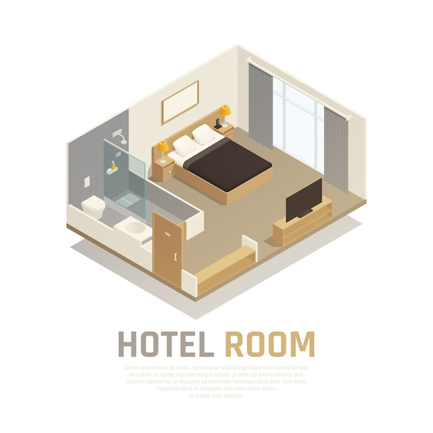 Hotel room with light furniture television and bath area with shower and toilet isometric composition Free Vector