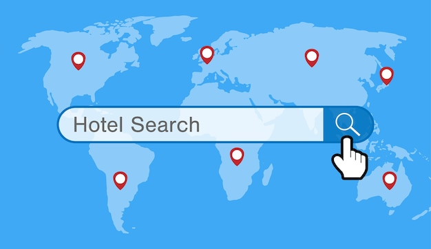 Hotel search engine with world map and gps icon vector premium hotel search engine with world map and gps icon premium vector gumiabroncs Image collections