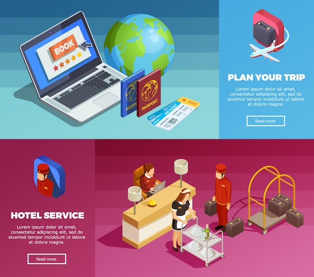 Hotel service 2 isometric webpage banners Free Vector