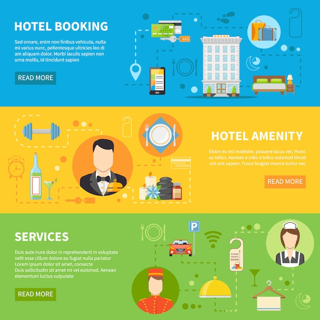 Hotel service banners set Free Vector