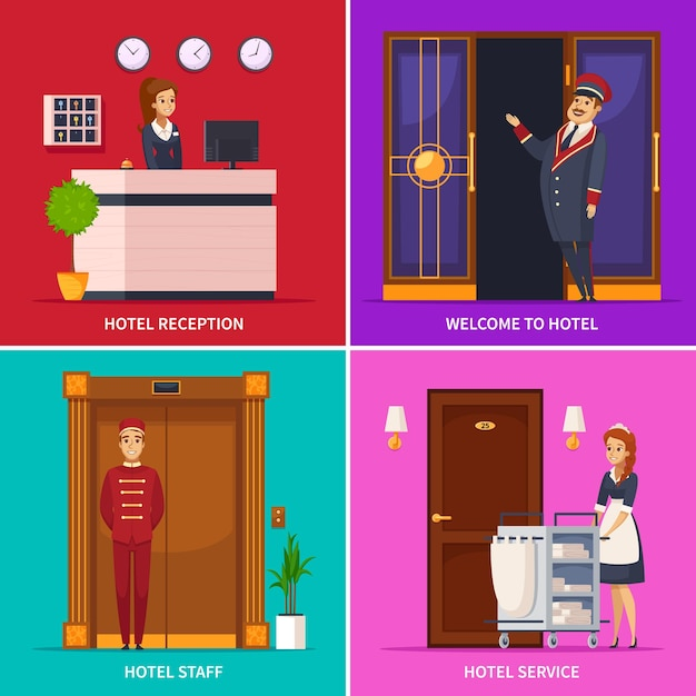 호텔 서비스 개념은 도어맨 접수 원 하녀 벨보이 만화 캐릭터와 사각형 아이콘 세트 무료 벡터