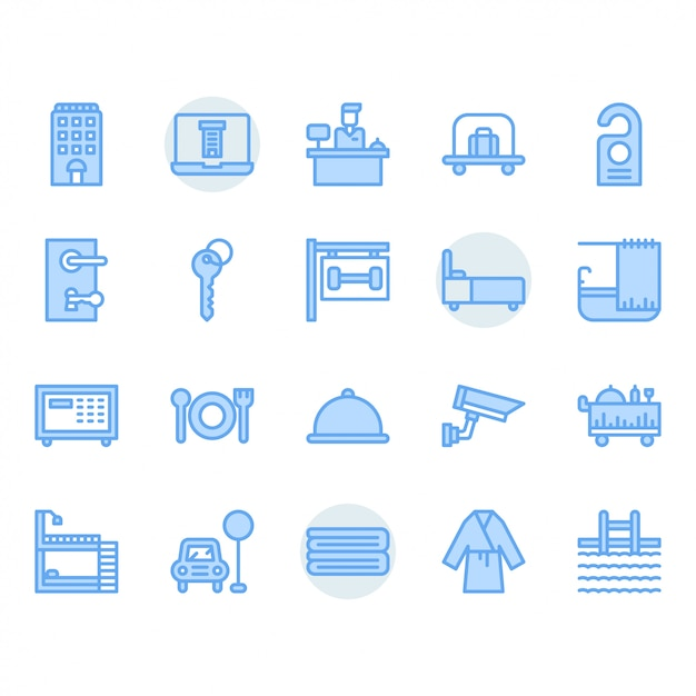Hotel service icon set Premium Vector