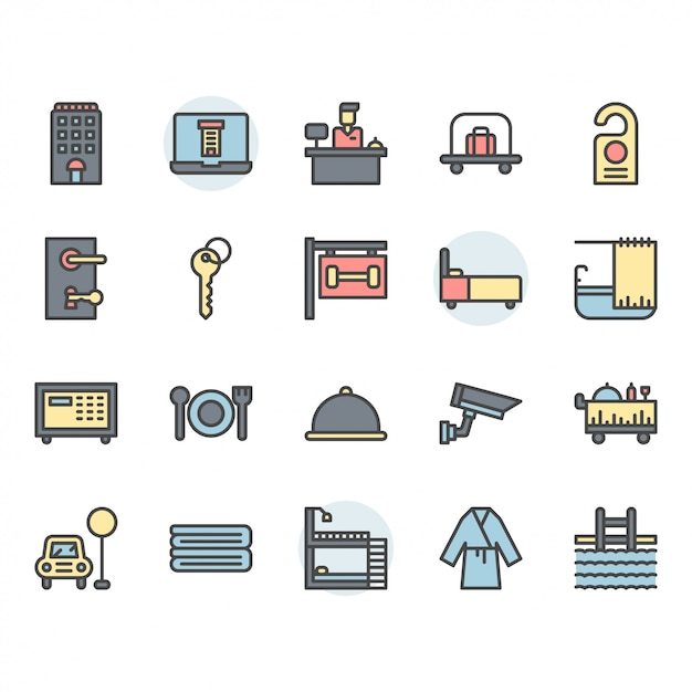 Hotel service icon and symbol set Premium Vector