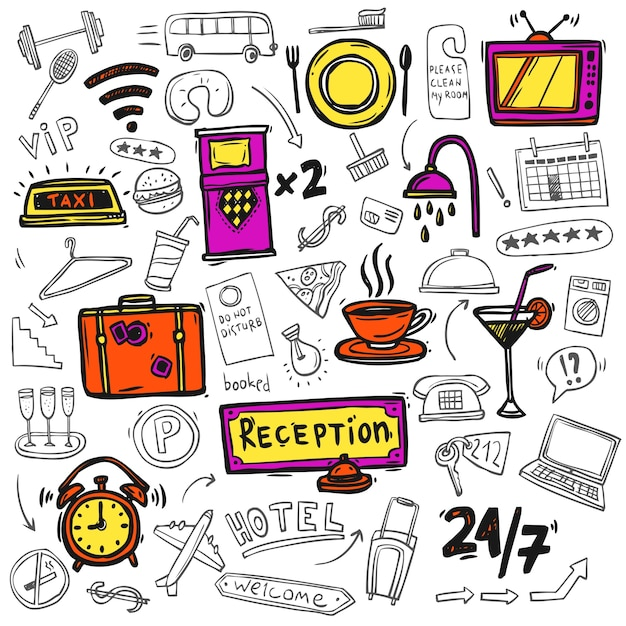 Hotel service icons doodle sketch Free Vector