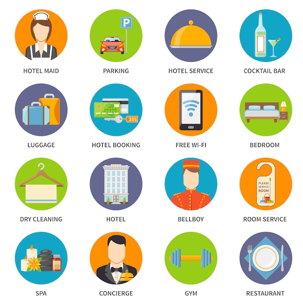 Hotel service icons set Premium Vector