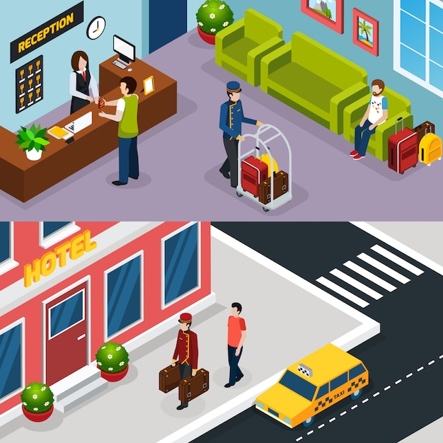 Hotel service isometric banner set Free Vector