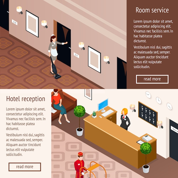 Hotel service isometric horizontal banners Free Vector