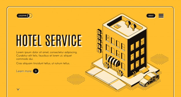 Hotel service isometric projection web banner with clients car Free Vector