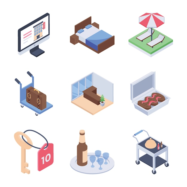 Hotel service and room service isometric icons pack Premium Vector