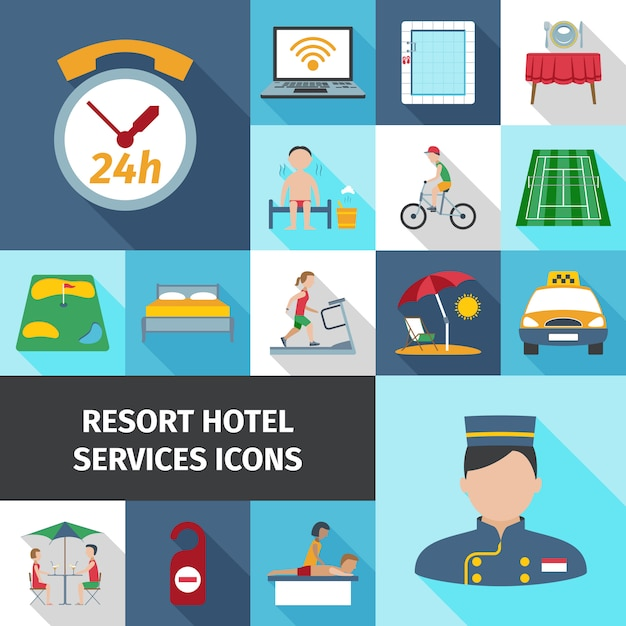 Hotel services flat icon set Free Vector