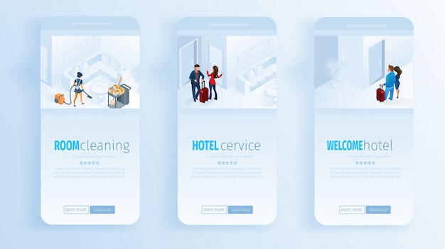 Hotel services room cleaning welcome social media Premium Vector