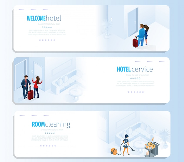 Hotel services for travel vector banners set Premium Vector