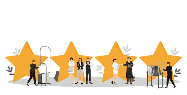 Hotel staff  color  illustration. porters, doorman, administrator. resort manager. housekeeper, maid. service personnel with quality stars  cartoon characters on white Premium Vector