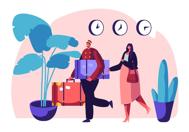 Hotel stuff concept illustration Premium Vector
