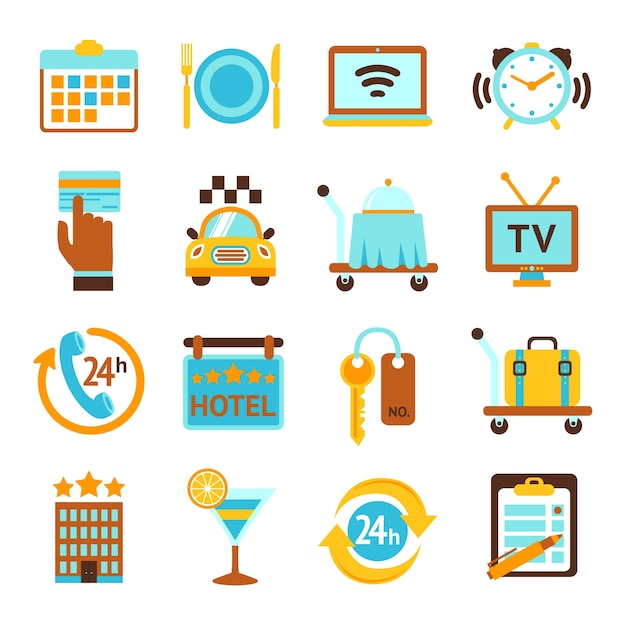 Hotel travel 24h room service flat icons set with breakfast bell and mobile tv isolated vector illustration Free Vector
