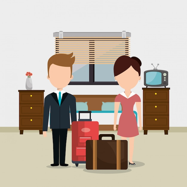 Hotel workers avatars characters Free Vector