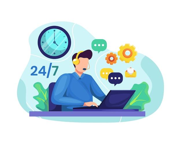 Hotline operator advises client Premium Vector