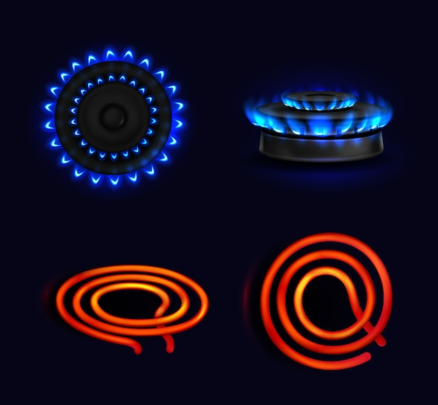 Hotplates, burning gas stove and electric coil, blue flame and red electric spiral top and side view. kitchen burner with lit hobs, cooking oven, isolated glowing cooktops, realistic 3d set Free Vector