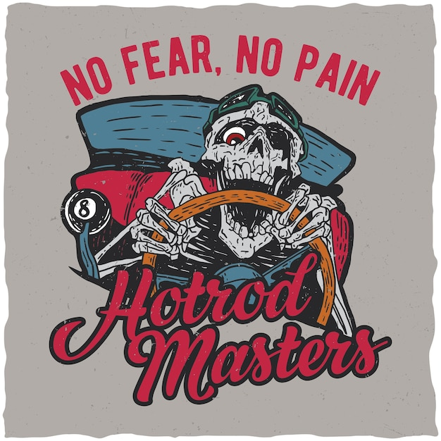 Hotrod masters label design Free Vector