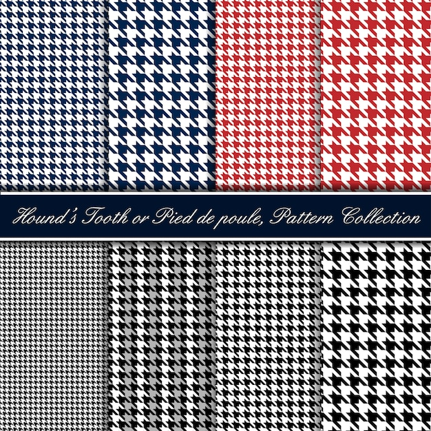 Hounds tooth seamless pattern collection Premium Vector
