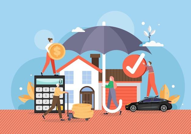 保険契約の信頼できる保護の下で、傘の下の家と車 Premiumベクター