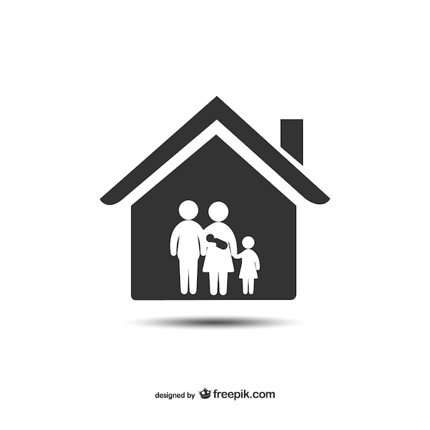 house and family icon vector | free download