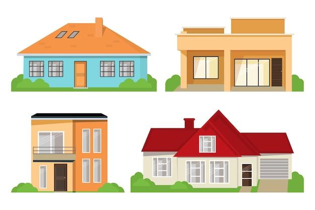 집 건축 컬렉션 프리미엄 벡터