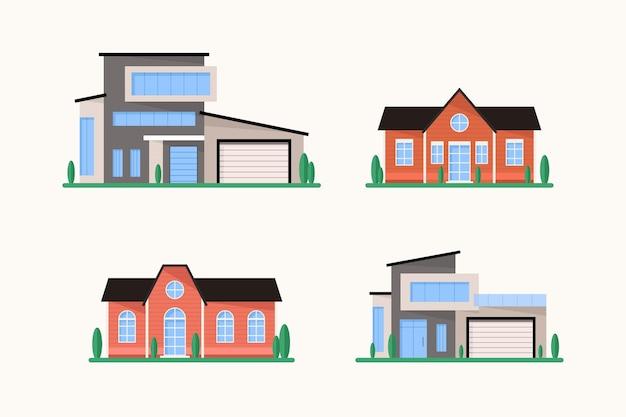 집 건축 디자인 모음 무료 벡터