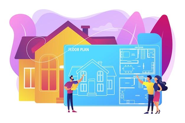 家具付き住宅建築計画。インテリア・デザイン。不動産フロアプラン、フロアプランサービス、不動産マーケティングコンセプト。明るく鮮やかな紫の孤立したイラスト 無料ベクター