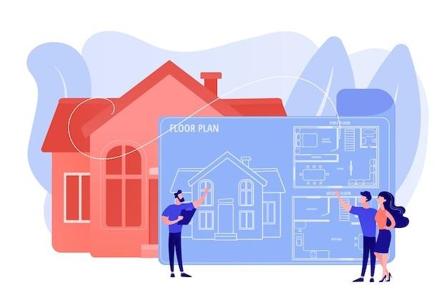 가구가있는 주택 건축 계획. 인테리어 디자인. 부동산 평면도, 평면도 서비스, 부동산 마케팅 개념. 분홍빛이 도는 산호 bluevector 고립 된 그림 무료 벡터