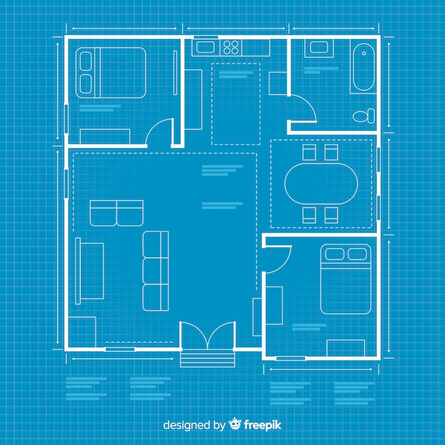 House arhitectural plan with blueprint Free Vector