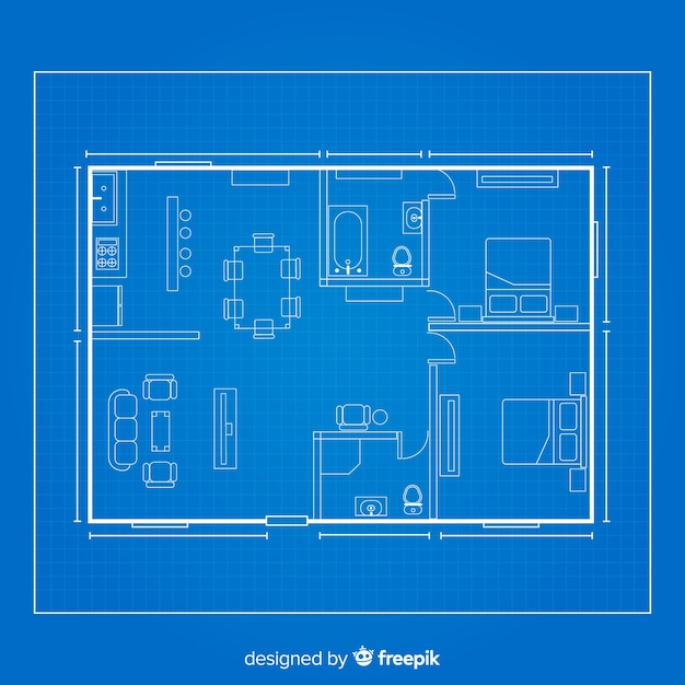House arhitectural sketch blueprint Free Vector