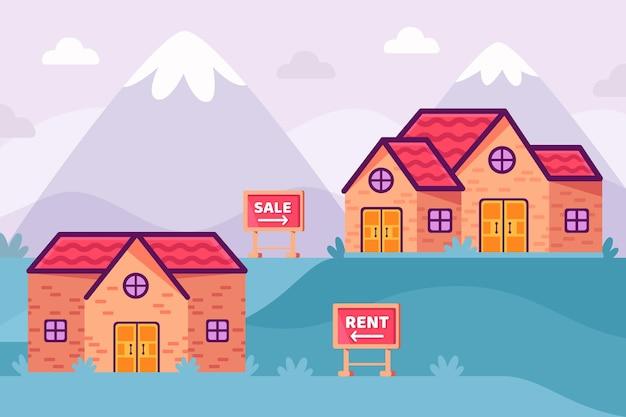 산 판매 및 임대 개념에 집 무료 벡터