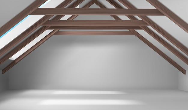 House attic interior, empty mansard room on roof Free Vector