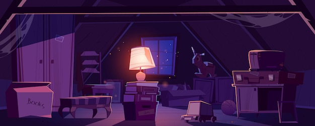 House attic at night, storage of old furniture and items under roof. Free Vector